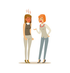 Two young businesswomen characters arguing and vector