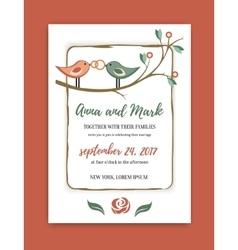 wedding vintage invitation in retro design with vector image vector image