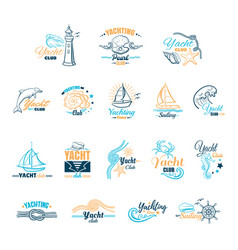 yacht club colored emblems vector image vector image