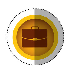 Yellow round symbol business suitcase icon image vector