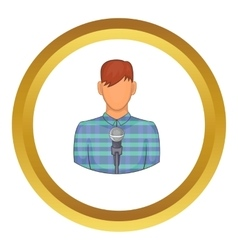 Young man with microphone icon vector