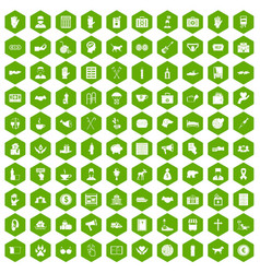 100 donation icons hexagon green vector