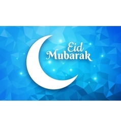 Eid mubarak greeting card crescent moon on vector