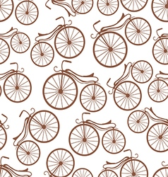 Retro bicycles pattern vector