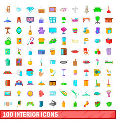100 interior icons set cartoon style vector