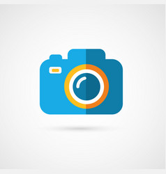 Flat photo camera icon vector