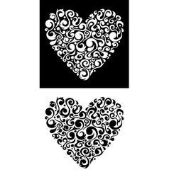 Valentines floral love heart isolated vector