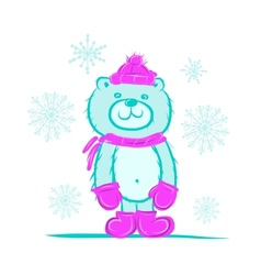 Funny santa bear for your design vector image