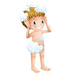 A kid taking a bath vector image
