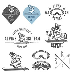 Set of retro ski emblems badges and design elemen vector image