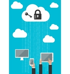 Cloud computing security flat concept vector