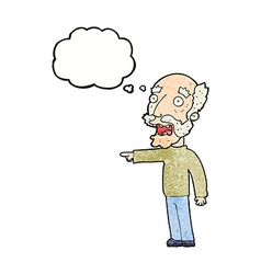Cartoon scared old man pointing with thought vector
