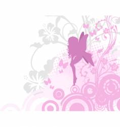 Fairy in pink garden vector