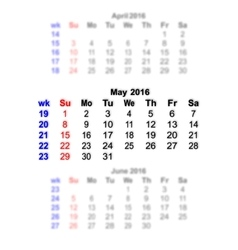May 2016 calendar week starts on sunday vector