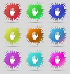 Hand print sign icon stop symbol nine original vector