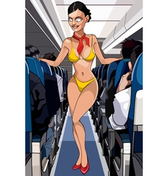 Cartoon sexy stewardess in a bathing suit in the vector