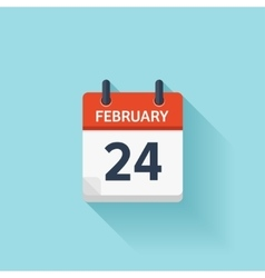 February 24 flat daily calendar icon date vector