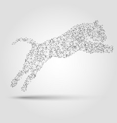 Abstract tiger silhouette from dots and lines vector image