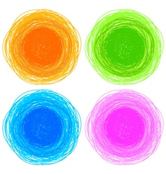 Pencil colorful hand drawn circles vector