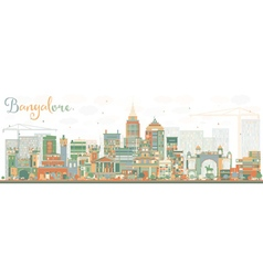 Abstract bangalore skyline with color buildings vector