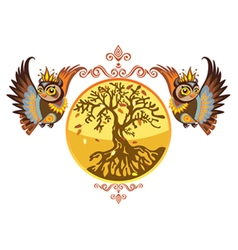 autumn owls with tree vector image vector image