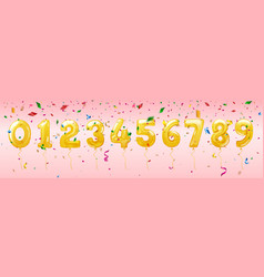 birthday balloon numbers for celebration vector image
