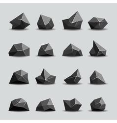 Black polygon stone and poly rocks vector
