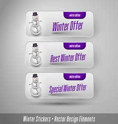 Business winter stickers with snowman design vector