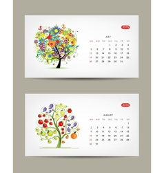 Calendar 2015 july and august months Art tree vector image vector image