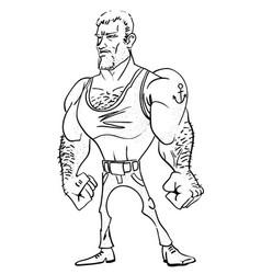 cartoon image of tough man vector image