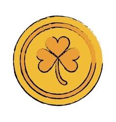 cartoon saint patrick day gold coin shamrock icon vector image vector image