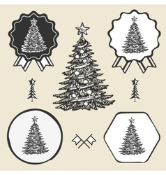 Christmas tree vintage symbol emblem label vector image