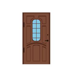 classic brown wooden entrance door closed elegant vector image vector image