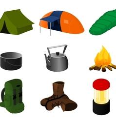 Collection of camping icons vector image