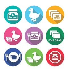 Foie gras duck or goose flat design icons set vector