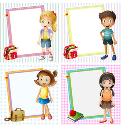 Frame template with happy kids vector