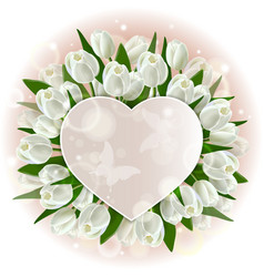 greeting card with hearts and tulips vector image vector image