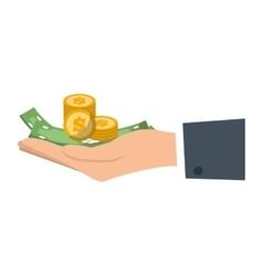 Hand holds bill coin money vector