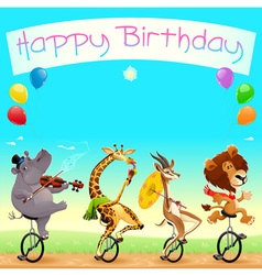 Happy birthday card with funny wild animals on vector