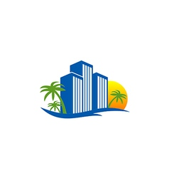 hotel resort beach travel logo vector image