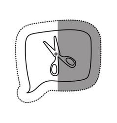 Monochrome contour sticker with scissors icon in vector