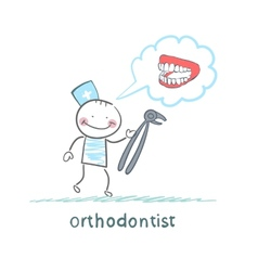 orthodontist with a tool for thinking about vector image vector image