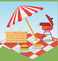 picnic relax umbrella blanket basket and grill vector image