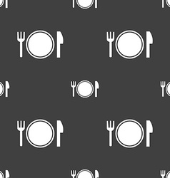Plate icon sign Seamless pattern on a gray vector image vector image