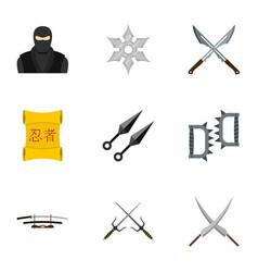 Samurai icons set flat style vector