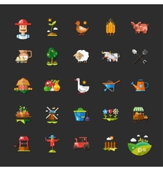 Set of farm and agriculture flat design icons vector