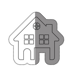 sticker of monochrome contour of house two floors vector image