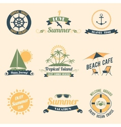 Summer sea retro labels vector