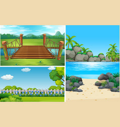 three nature scenes at day time vector image vector image