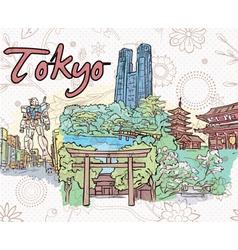 tokyo doodles vector image vector image